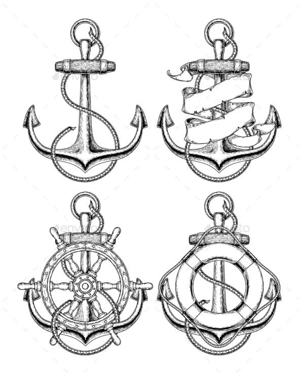 Nautical Anchor - Tattoos Vectors