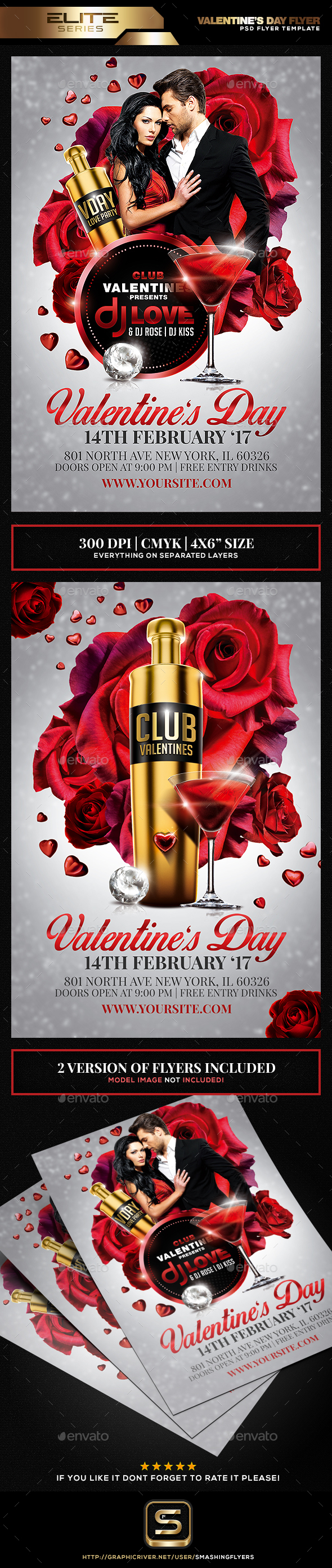 Valentine's Day Flyer Template - Clubs & Parties Events