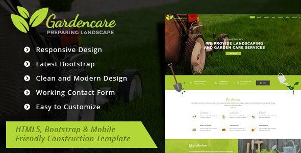 Garden Care - Gardening and Landscaping Bootstrap Template - Corporate Site Templates