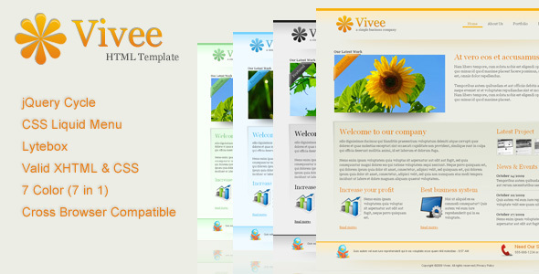 Vivee – Clean Business Web Template – 7 Color
