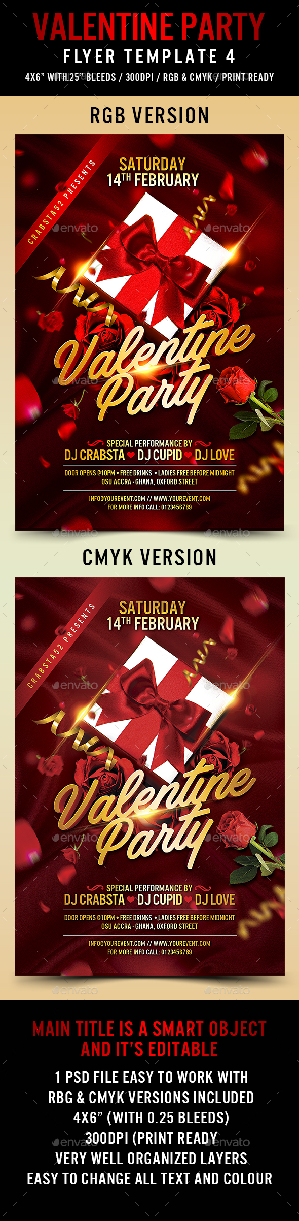 Valentine Party Flyer Template 4 - Flyers Print Templates