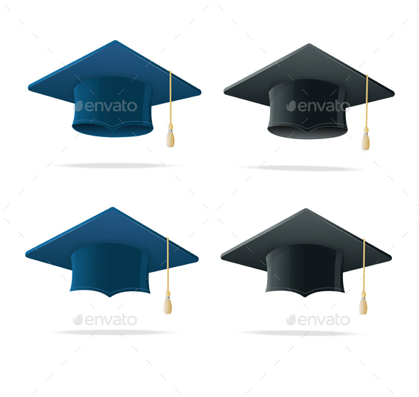 Student Hat Blue and Black Set - Man-made Objects Objects