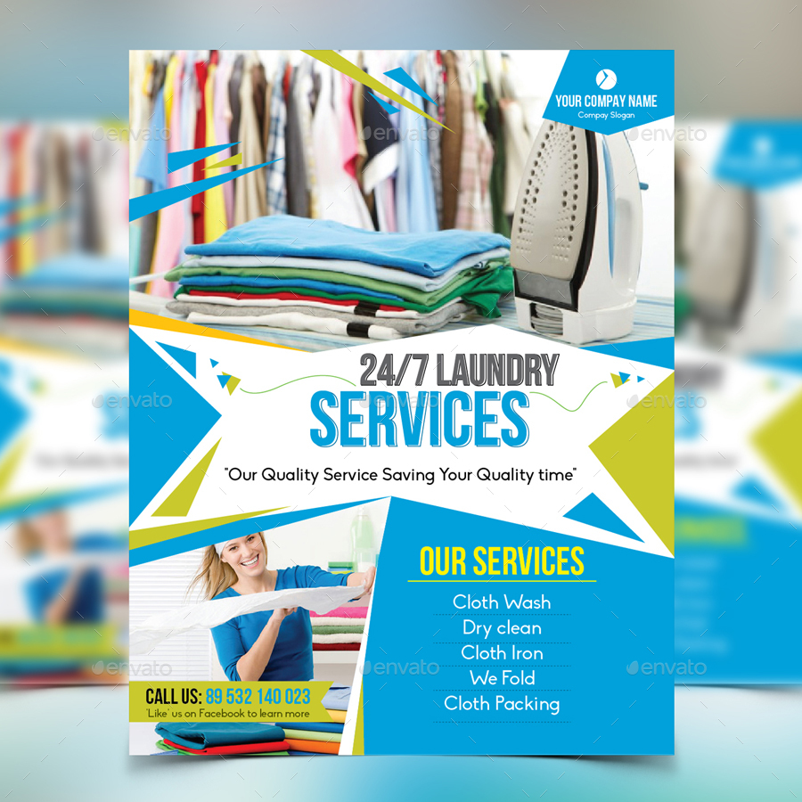 Laundry service flyer by design station graphicriver for Laundry flyers templates