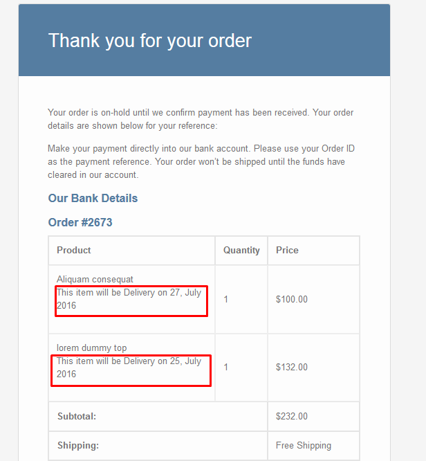 Estimated shipping date in Perth