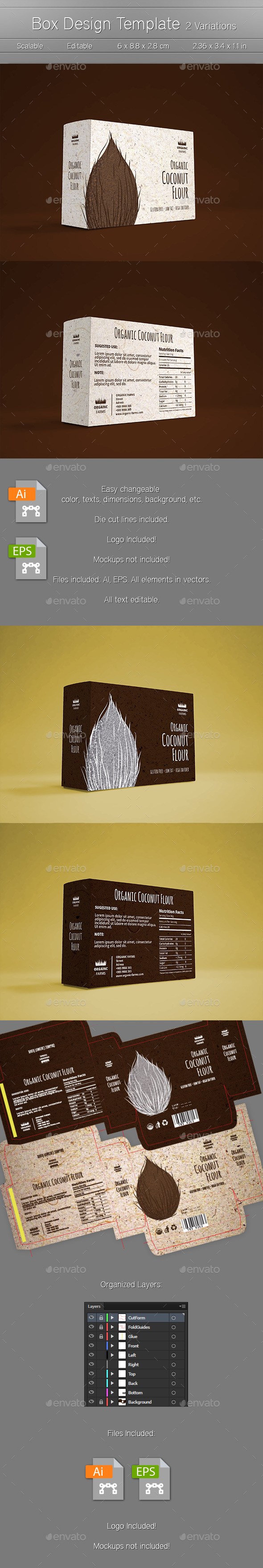 Box Design Template - 2 Variations - - Packaging Print Templates