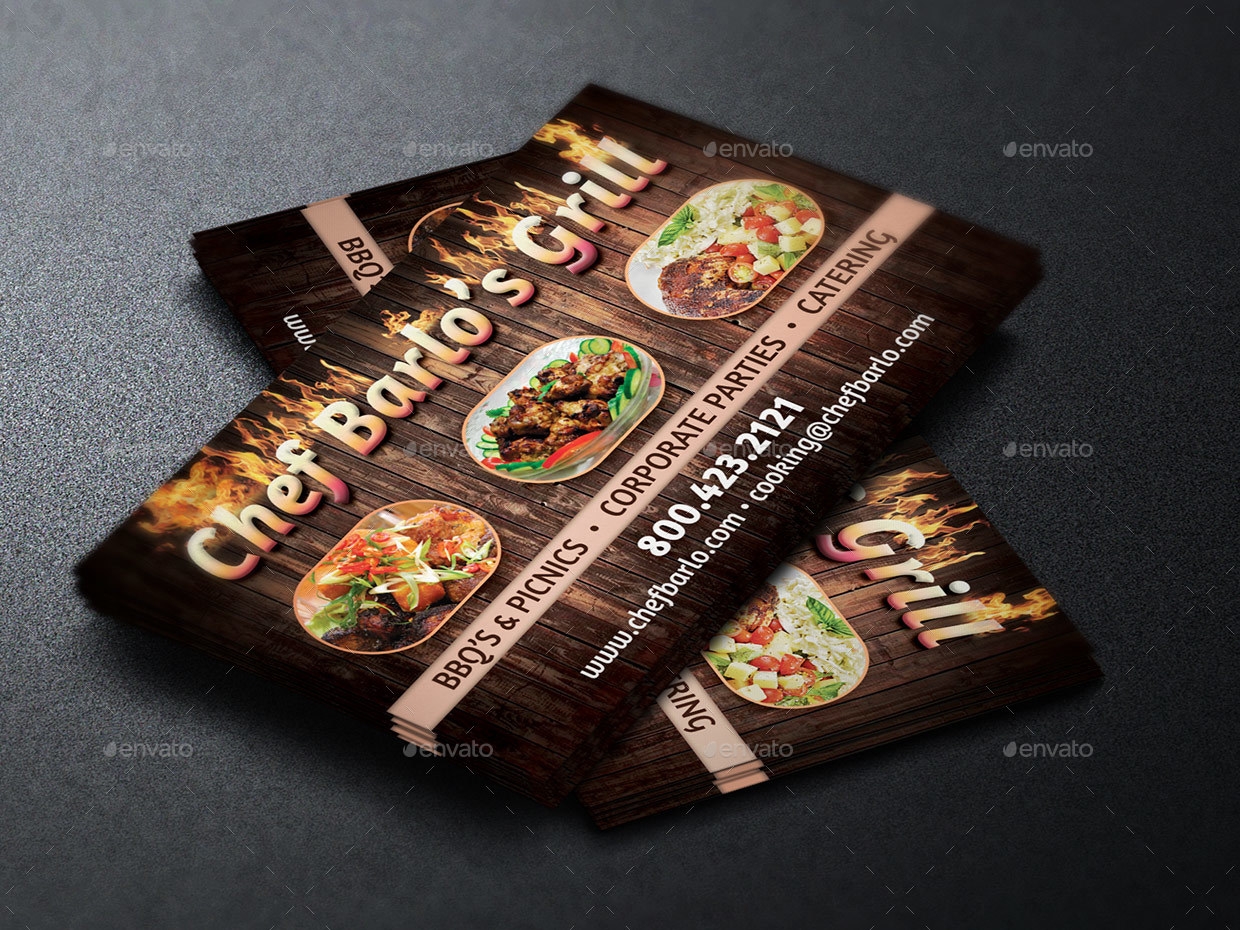 Chef catering business card template by godserv2 graphicriver preview image setchef business card template preview1g colourmoves