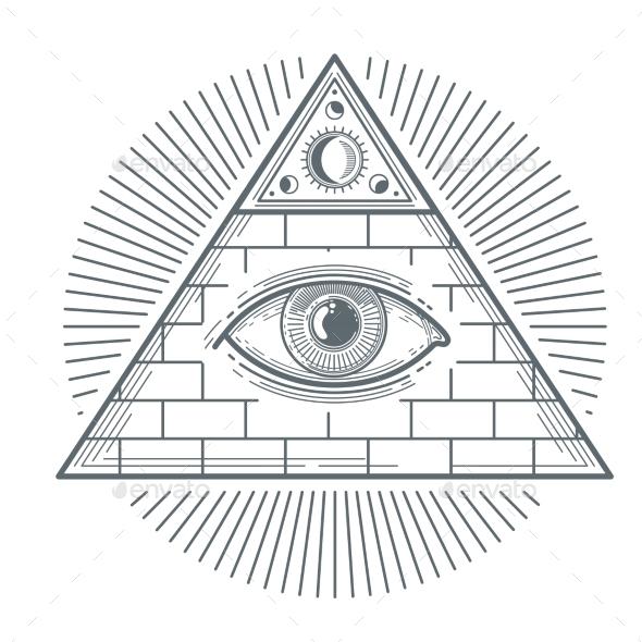 Mystical Occult Sign with Freemasonry Eye Symbol - Web Elements Vectors