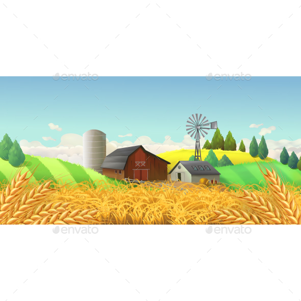 Wheat Field Farm Landscape - Landscapes Nature