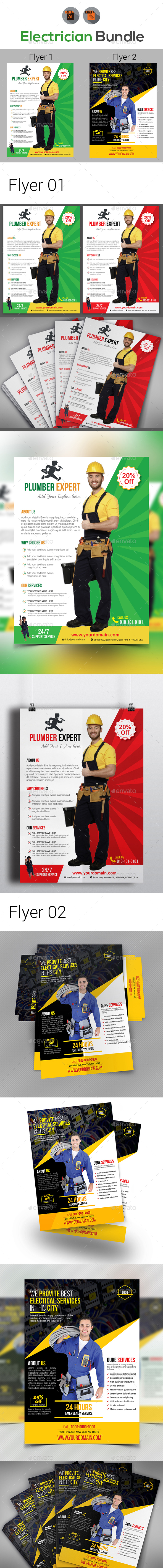 Handyman & Plumber Services Flyer Bundle - Corporate Flyers