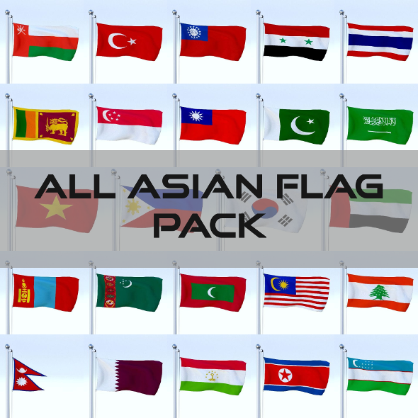 All Asian Flag Pack - 3DOcean Item for Sale