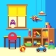 Preschool Kindergarten Classroom with Toys Cartoon