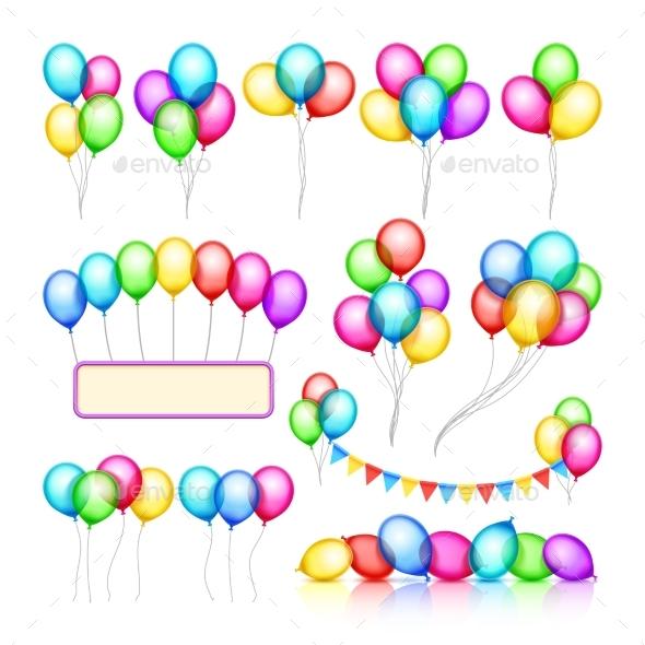 Glossy Celebration Party Balloon Groups - Decorative Symbols Decorative