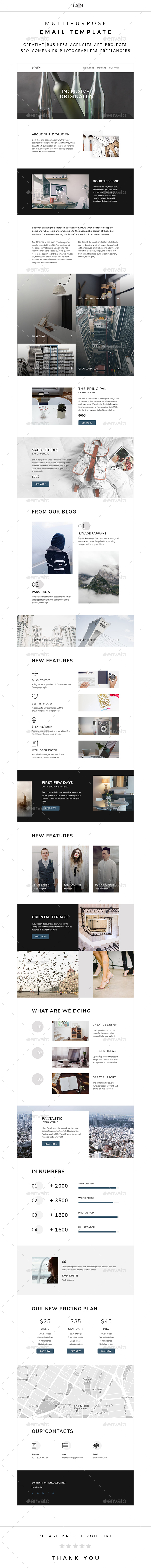 Joan – Multipurpose Email Template - E-newsletters Web Elements