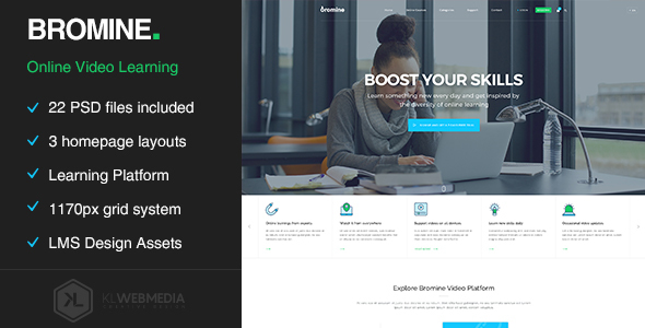 Bromine - Online Learning Platform PSD template - Entertainment PSD Templates