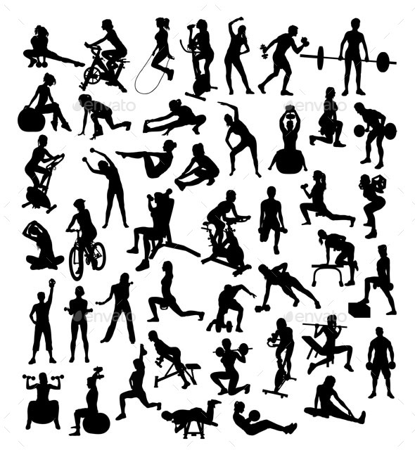 Fitness Sport Activities Silhouettes - Sports/Activity Conceptual