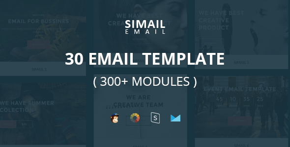 SIMAIL - 30 Email Template (300+ Modules) + Stampready Builder - Newsletters Email Templates