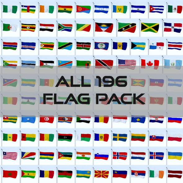 All 196 Flag Pack - 3DOcean Item for Sale