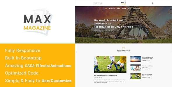 Max Magazine – News & Blog HTML Template