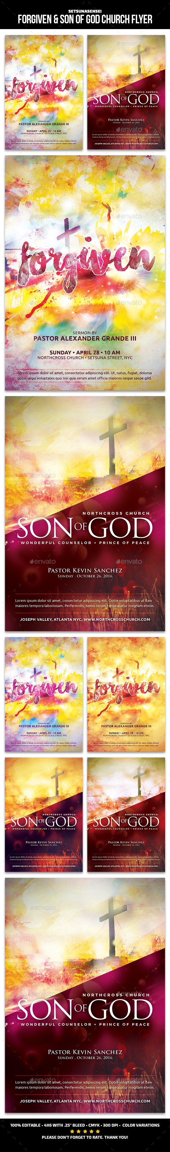 Forgiven & Son of God Church Flyer - Church Flyers