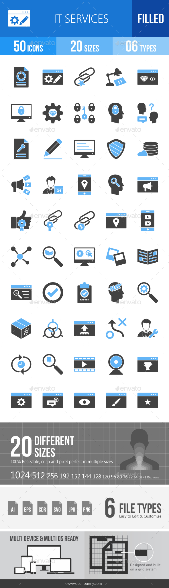 IT Services Blue & Black Icons - Icons