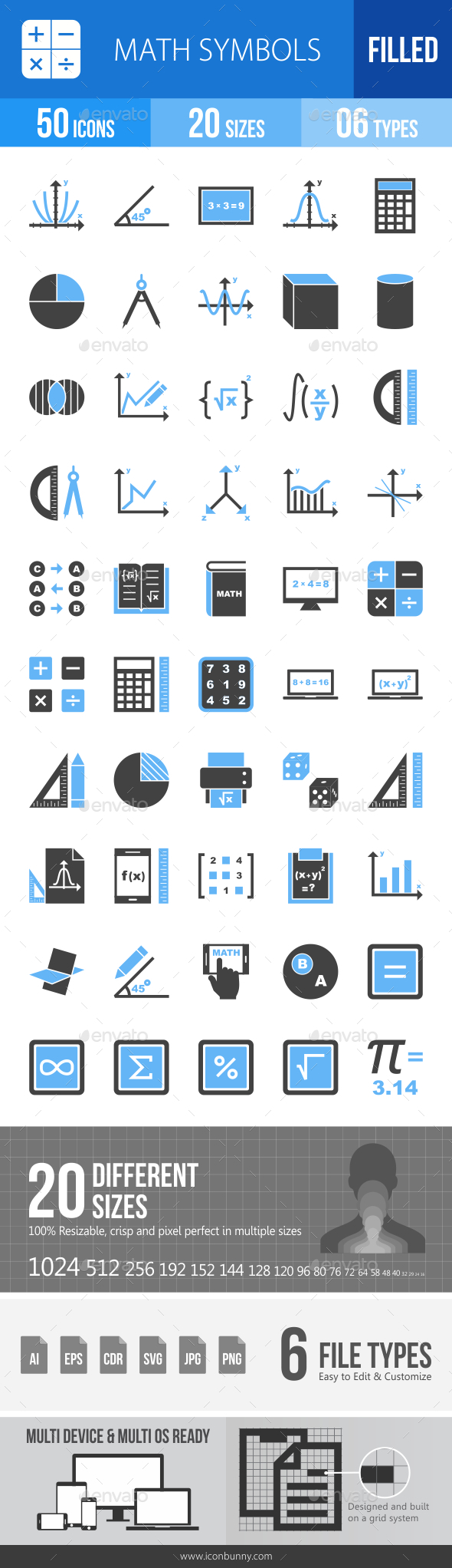 Math Symbols Blue & Black Icons - Icons