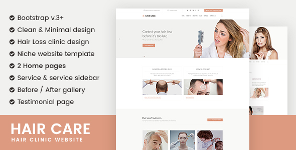 Hair Care | Hair Clinic Responsive Website Template