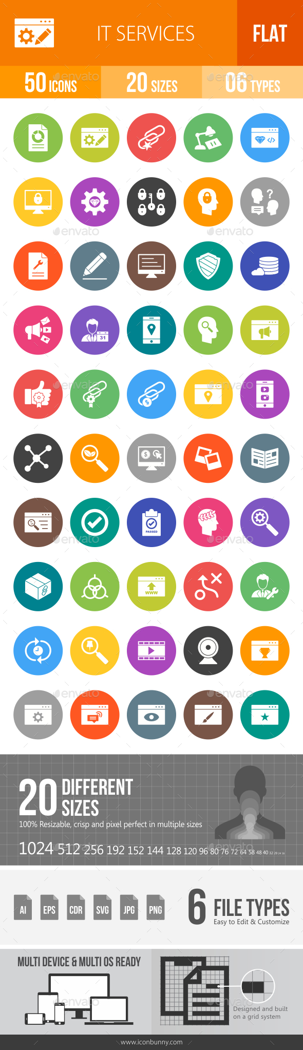 IT Services Flat Round Icons - Icons