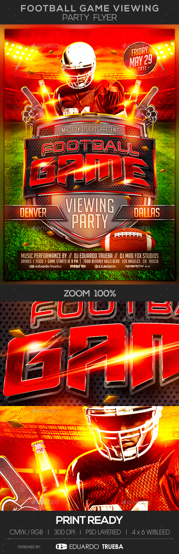 Football Game Viewing Party Flyer - Sports Events