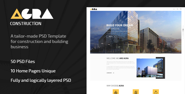 Agra | Construction Business Template - Corporate PSD Templates