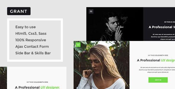 Grant – Onepage Portfolio Template
