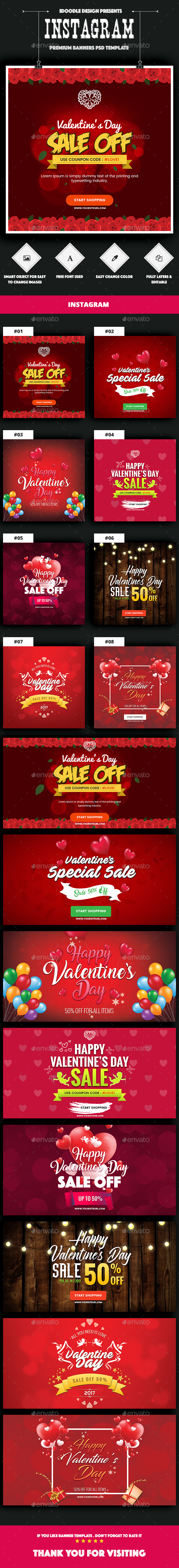 NewsFeed Valentine's Day Banner Ads - 16 PSD [02 Size Each] - Banners & Ads Web Elements