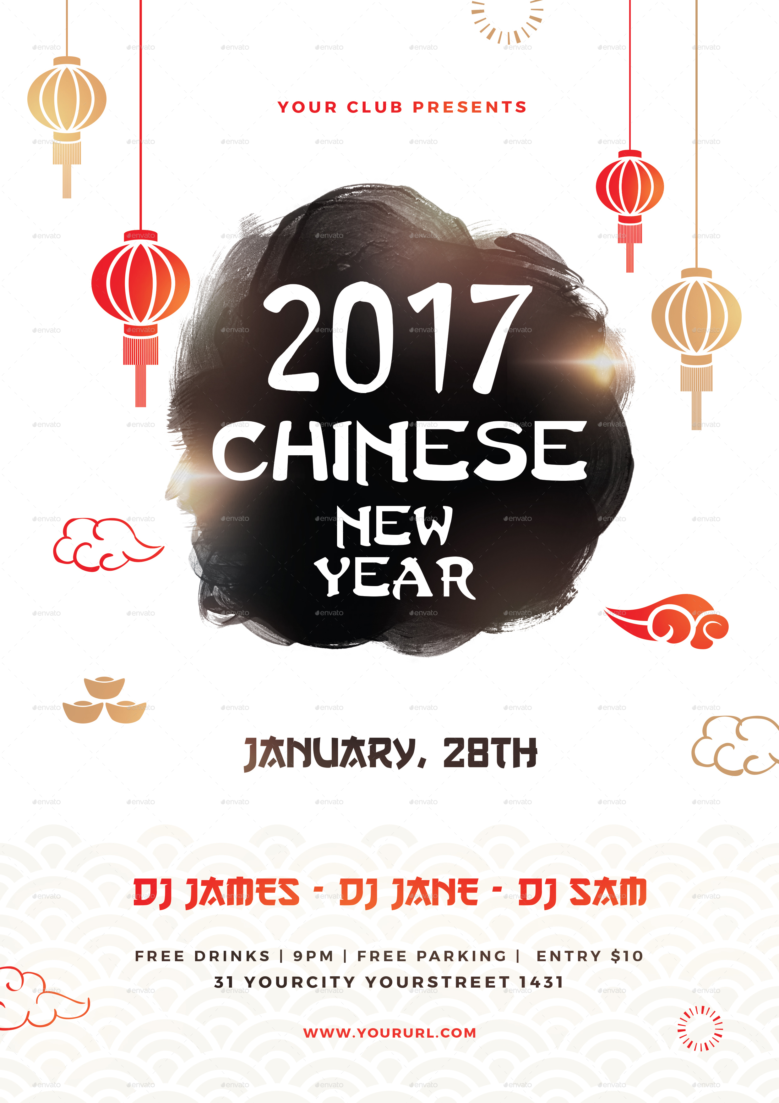 Chinese New Year Party Flyer by infinite78910 | GraphicRiver