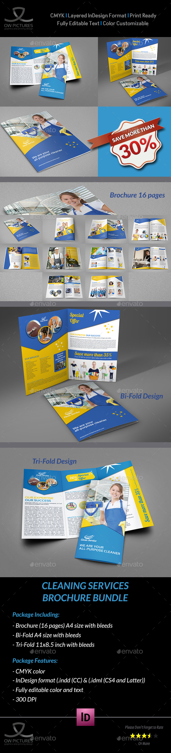 Cleaning Services Brochure Bundle Template - Brochures Print Templates