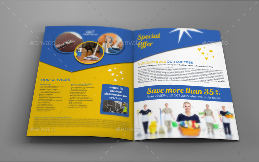 Cleaning Services Brochure Bundle Template by OWPictures | GraphicRiver
