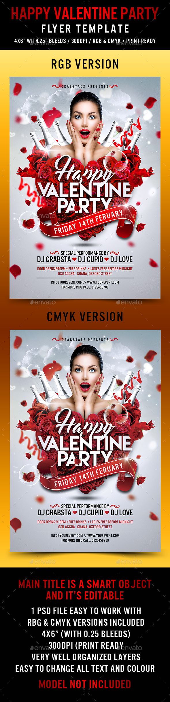 Happy Valentine Party Flyer Template - Events Flyers