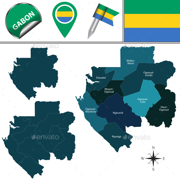 Map of Gabon with Named Provinces - Travel Conceptual