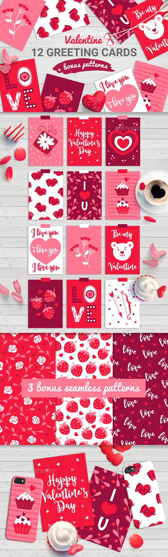 12 Valentine Cards + 3 Seamless Patterns - Valentines Seasons/Holidays