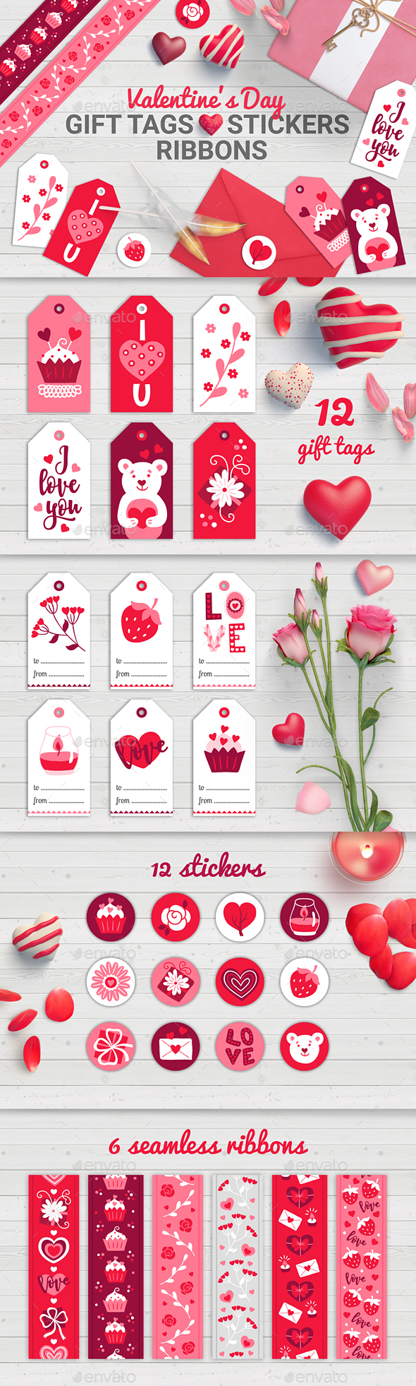 Valentine Gift Tags, Stickers, Ribbons - Valentines Seasons/Holidays