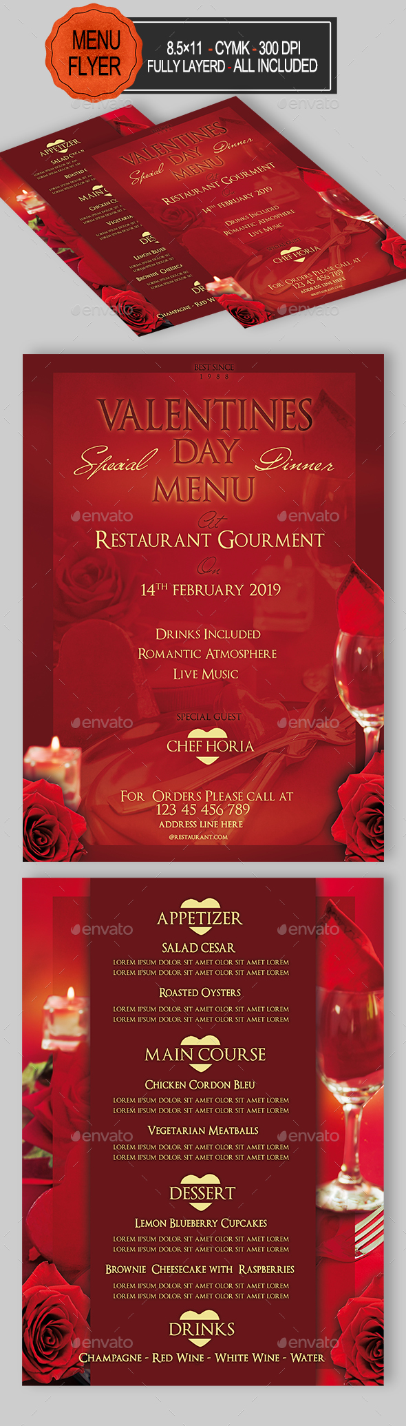 Valentines Day Menu - Restaurant Flyers