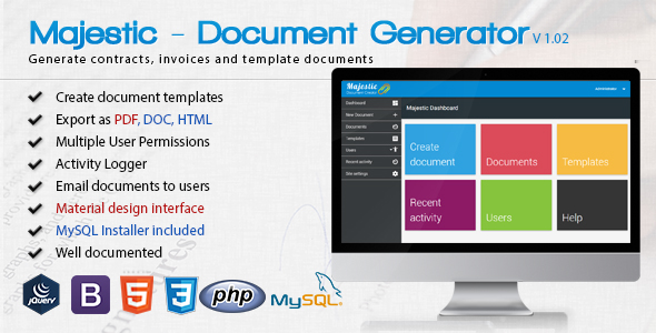 Majestic - Create documents from templates. Easily generate contracts and invoices - CodeCanyon Item for Sale