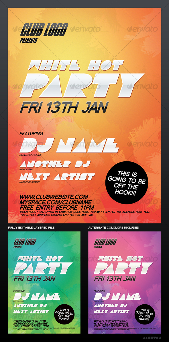 Party / Nightclub Poster: White Hot - Clubs & Parties Events
