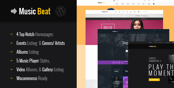 MusicBeat Music Bands Musicians & DJ's WordPress Theme