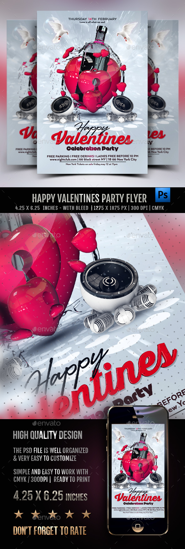 Happy Valentines Party Flyer - Clubs & Parties Events