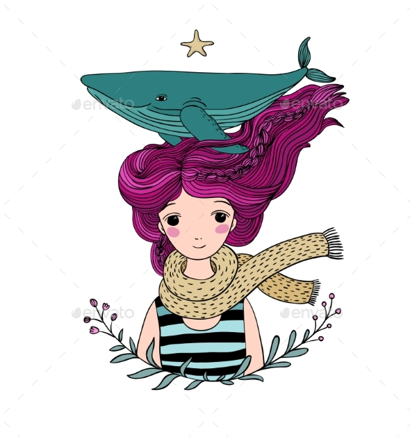 Young Girl Sailor with a Whale in Her - Miscellaneous Vectors