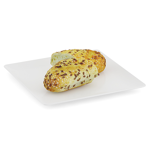Sliced Bun with Sesame Seeds - 3DOcean Item for Sale