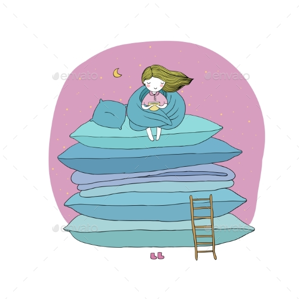 Little Girl with Cushions and a Ladder - Backgrounds Decorative