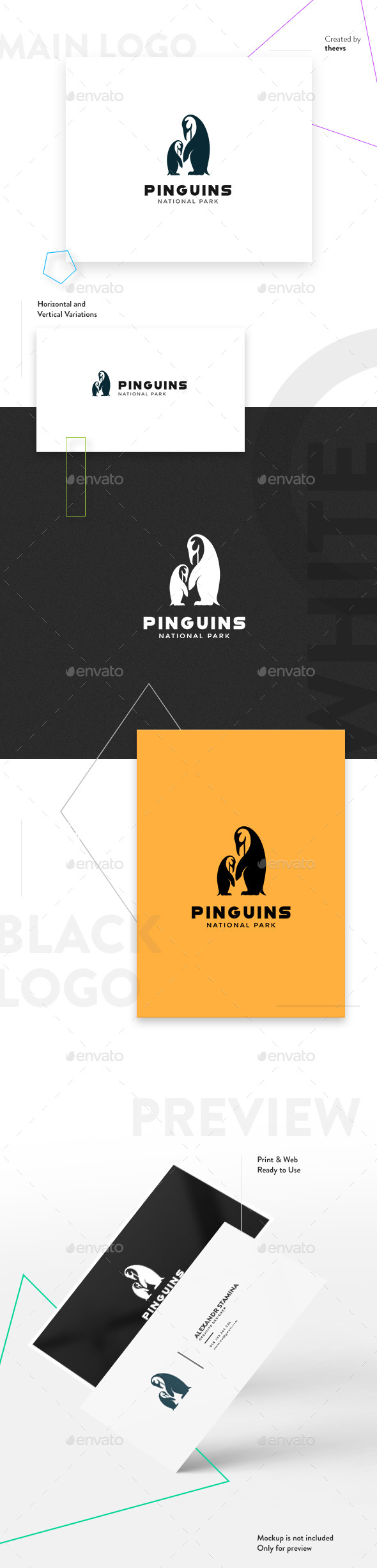 Pinguins Logo - Animals Logo Templates