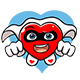 Cartoon Super Hero Heart with Black Face Mask - GraphicRiver Item for Sale