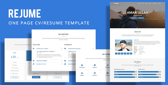REJUME - Personal Resume Template - Resume / CV Specialty Pages