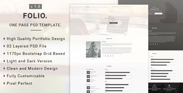 Folio – One Page PSD Template